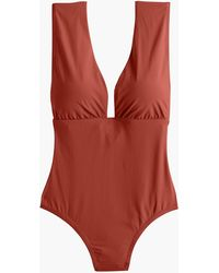 27acdde7a4 J.Crew Ruffle Plunge V-neck One-piece Swimsuit in Blue - Lyst