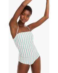 J.Crew - Ruched Bandeau One-piece Swimsuit In Suckered Contrast Stripe - Lyst