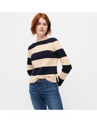 J.Crew Boatneck Sweater In Rugby Stripe - Blue