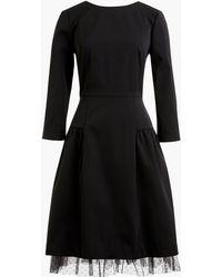 J.Crew - Long-sleeve Sheath Dress With Tulle Hem - Lyst