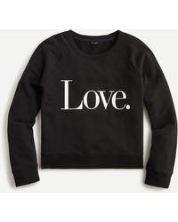 "J.Crew ""love"" Sweatshirt In Original Cottton Terry - Black"