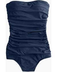 J.Crew Ruched Bandeau One-piece Swimsuit - Blue
