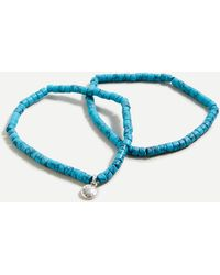 J.Crew Beaded Stretch Bracelet Set - Blue