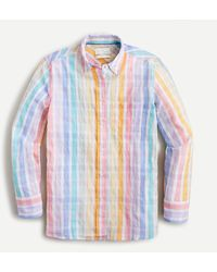 J.Crew - Classic-fit Shirt In Rainbow Crinkle Gingham - Lyst