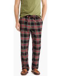 J.Crew Flannel Pajama Pant In Stewart Tartan - Black