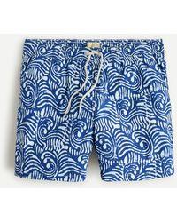 """J.Crew 6"""" Stretch Swim Trunk In Batik Print - Blue"""
