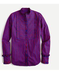 J.Crew Ruffle-trim Tuxedo Shirt In Stripe - Purple