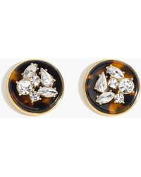 J.Crew - Clip-on Crystal And Tortoise Disc Earrings - Lyst
