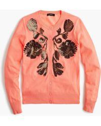 J.Crew - Sequin Floral Embroidered Cardigan - Lyst