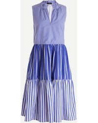 J.Crew Sleeveless Tiered Popover Dress In Mixed Stripe - Blue