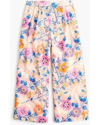 J.Crew - Petite Wide-leg Cropped Pant In Tana Lawn Liberty Print - Lyst