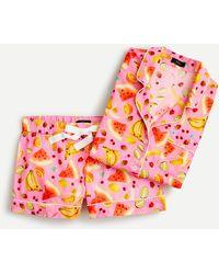 Edie Parker ® X J.crew Short-sleeve Pyjama Set In Fruit Punch - Pink