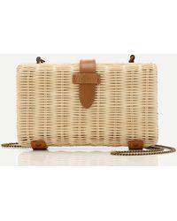 J.Crew Rattan Clutch With Chain Strap - Natural