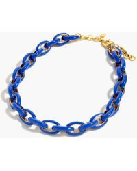 J.Crew Enamel Oval Link Necklace - Blue