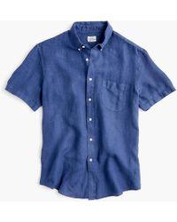 J.Crew - Short-sleeve Garment-dyed Shirt In Irish Linen - Lyst