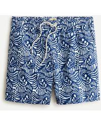 """J.Crew 8"""" Stretch Swim Trunk In Batik Print - Blue"""