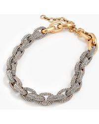 J.Crew Allover Pavé Crystal Oval Link Necklace - Metallic