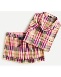 J.Crew Short-sleeve Pyjama Set In Plaid - Multicolour