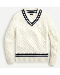 J.Crew Cashmere Cable-knit V-neck Cricket Sweater - White
