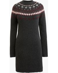J.Crew - Jewel-embellished Fair Isle Crewneck Sweater Dress - Lyst