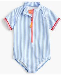 J.Crew Girls' Short-sleeve One-piece Swimsuit In Seersucker With Upf 50+ - Blue