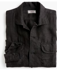J.Crew - Wallace & Barnes Camp-collar Shirt In Black - Lyst