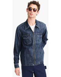J.Crew Midweight Zip-front Denim Shirt Jacket - Blue