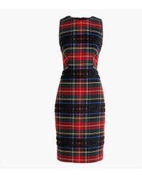J.Crew Petite Sheath Dress In Lurex Stewart Tartan - Red