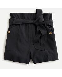 J.Crew Drapey Paper-bag Short - Black