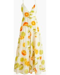 Edie Parker ® X J.crew Button-front Tiered Maxi Dress In Limes And Oranges - White