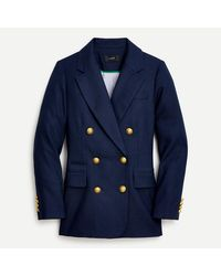 J.Crew Double-breasted Blazer In Stretch Linen - Blue