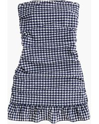 J.Crew Ruched Bandeau Swim Dress In Puckered Gingham - Blue
