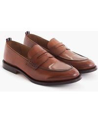 J.Crew - Oar Stripe Penny Loafers In Italian Leather - Lyst