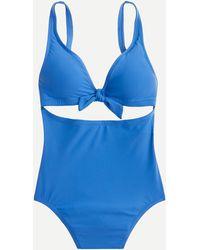 J.Crew Tie-front Cutout One-piece Swimsuit - Blue