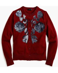 J.Crew - Sequin Floral Embroidered Cotton Jackie Cardigan Sweater - Lyst