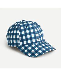 J.Crew Baseball Hat In Gingham - Blue