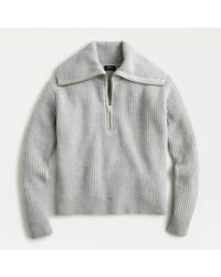J.Crew Collection Ribbed Cashmere Half-zip Sweater - Gray