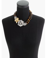 J.Crew - Tortoise And Crystal Flower Necklace - Lyst