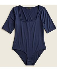 J.Crew Squareneck Stretch Bodysuit - Blue
