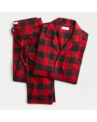J.Crew Flannel Pajama Set In Buffalo Plaid - Red