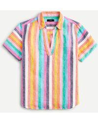 J.Crew Short-sleeve Linen Popover Top In Rainbow Stripe - Blue