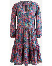 J.Crew Ruffleneck Tiered Popover Dress In Liberty® Ciara Print - Blue