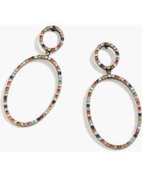 J.Crew - Pavé Double Oval Earrings - Lyst