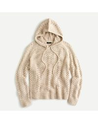 J.Crew Sweater-hoodie In Pointelle Stitch - Natural