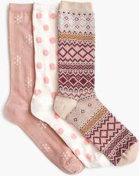 J.Crew - Trouser Socks Three-pack In Snowflakes - Lyst