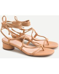 J.Crew Lace-up Strappy Sandals In Black Leather - Multicolour
