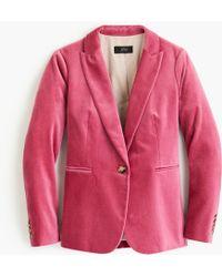 J.Crew Petite Parke Blazer In Velvet - Pink