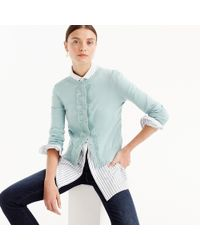 J.Crew - Cotton Jackie Cardigan With Eyelet Lace - Lyst