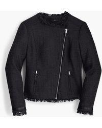 J.Crew - Petite Tweed Motorcycle Jacket With Fringe - Lyst