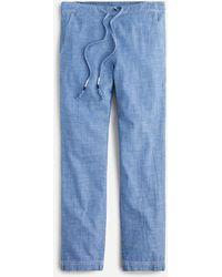 J.Crew Tie-waist Seaside Pant In Chambray - Blue